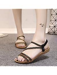 zhENfu sandalias de Mujer moda Primavera Verano Gladiator Confort tejer todos coinciden Boho vestido Casual talón plano Gore Blac
