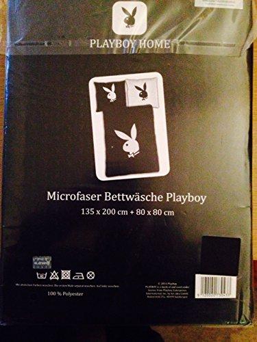 Bettwäsche Playboy Home Black/White Microfaser Bezug 135x200cm Kissen 80x80cm mit Reißverschluss 100%Polyester