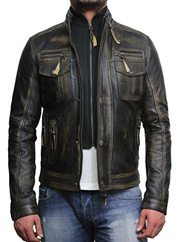 Brandslock Hommes vintage Tous les Biker Veste en cuir vintage noir Lavé Biker style rétro Crinkle Noir