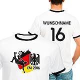Deutschland Kontrast T-Shirt zur Fussball EM 2016 personalisiert mit eigener Rückennummer und Wunschname Gr. M