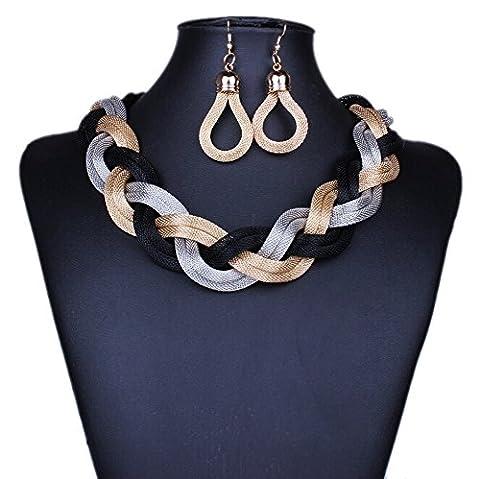 DELEY Fashion Boho Twisted Mesh Rope Cords Chunky Bib Choker