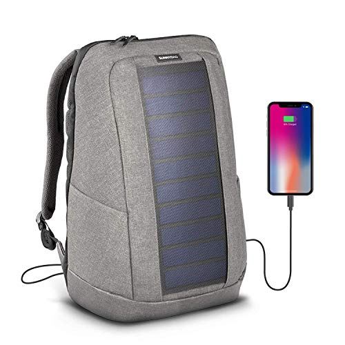 Sunnybag Iconic Laptop Solar Rucksack, 7 Watt Solarpanel, Ladegerät Smartphones (iPhone, etc.), Tablet, smartwatch + USB/dual-USB-Port, Grau/Cool Grey -