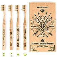 ♻ Nature Nerds – Bambus Zahnbürste im Set (4er Pack) aus nachhaltig angebauten Bambus / 100% Vegan, 100% BPA-frei >> Härtegrad: Mittel