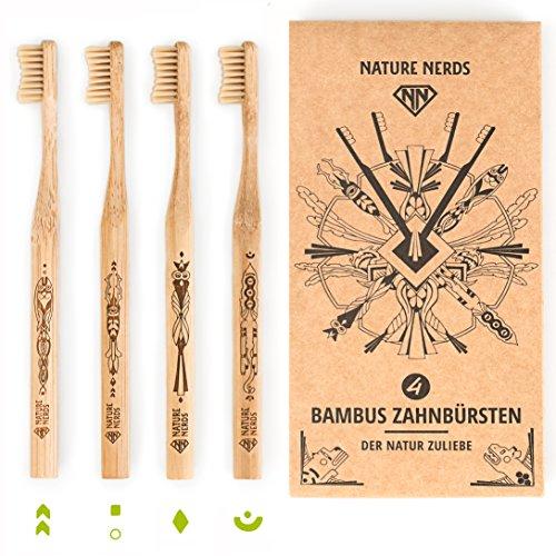 Nature Nerds – Bambus Zahnbürste im Set (4er Pack) Griff und Verpackung zu 100 % aus nachhaltig angebauten Bambus und zu 100% biologisch abbaubar, 100% Vegan, 100% BPA-frei /// Härtegrad: Mittel, nachhaltige Hand Zahnbürste //// Artwork Laserprint
