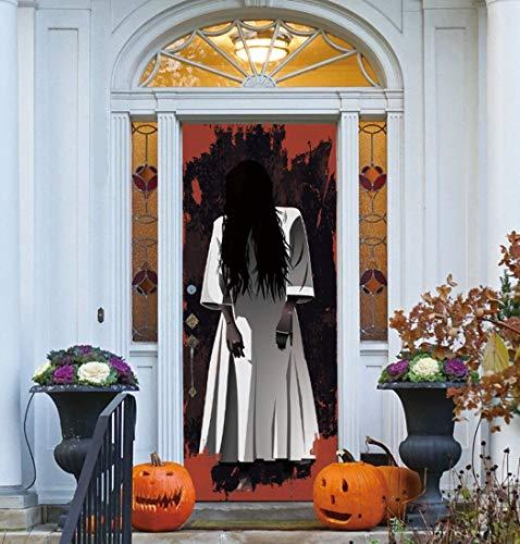 3D-Selbstklebende Tür Aufkleber Halloween Weiße Frau Geister Schlafsaal PVC-Plakate DIY Home Decor Wandbilder Herausnehmbare Wasserdichte Kunst Tapeten Von Qt XINGMU
