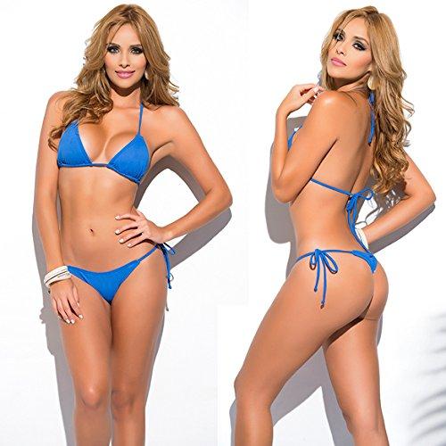 SHERRYLO 10 Solid Color Women's Thong Tanga Bikini Set String Swimsuit For S-XL Body Blue