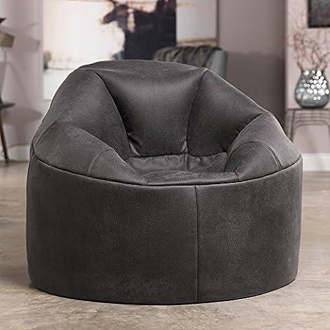 Chaise Snug Chaplin de ICON - Gris Anthracite - Fauteuil canapé grande taille en Faux Cuir gris de style vintage - Un siège Snuggle pour une personne