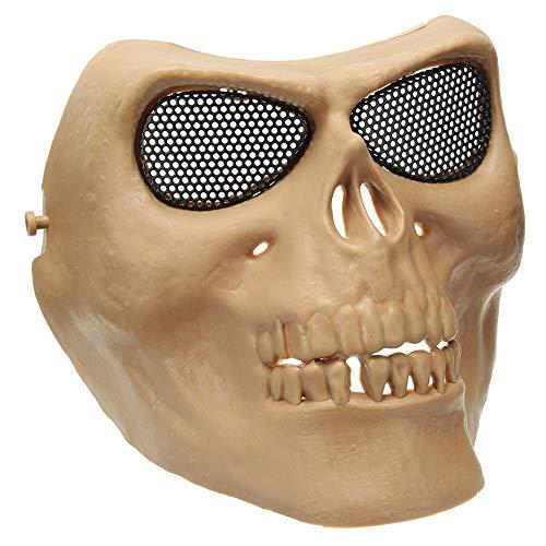 Gracioso Disfraces de Halloween Máscaras de cráneo Imitación Retro Máscaras de terror de metal Media cara de LMKIJN