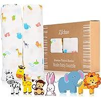 Mantas de muselinas paños de bebé 2-paquete, 120 x 120 cm El mejor regalo para bebe Estrellas calientes suave mantas y de muselina de algodón Color y diseño unisex
