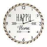 THE HOME DECO FACTORY Reloj 60cm, Madera, Blanc-Marron, 39,8x 3,5x 39,8cm