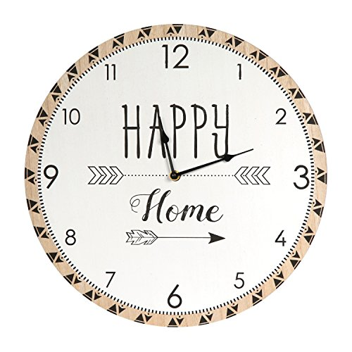 THE HOME DECO FACTORY HD4557 Horloge 60 cm, Bois, Blanc-Marron, 39,8 x 3,5 x 39,8 cm