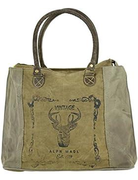 Domelo Tracht Damen Handtasche Trachtentasche Dirndltasche aus Canvas & Leder