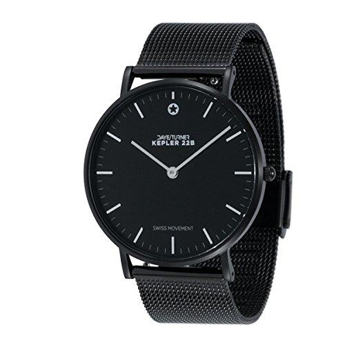 Daye/Turner Herren Uhr Analog Schweizer Uhrwerk mit Metall-Armband DT-91SM34BK-48BK