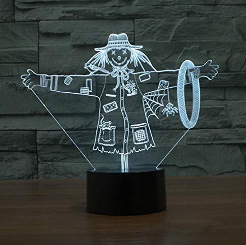 Joplc Schöne Vogelscheuche 3d lampe mädchen hut modell illusion 3d lampe led usb touch dekorative beleuchtung großes geschenk für kinder (Vogelscheuche Kind Hut)