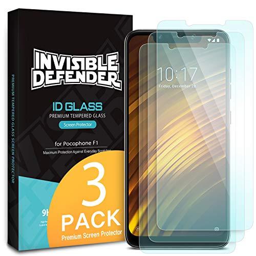 Ringke Invisible Defender Glass [3 Stück] Kompatibel mit Pocophone F1 Panzerglas Folie Ultimative klar Schirm HD Qualität Schutzfolie, 9H Härte Technologie für Xiaomi Poco F1 2018