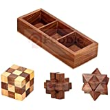 PEBBLE CRAFTS Handmade Wooden 3D Puzzles Game - 3 In One | Soma Cube |Interlock Block | Snake Cube| Brain Teaser | Desk Decor | Wooden Puzzles For Kids