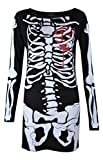 Womens Ladies Halloween Skeleton Skull Bone Red Blood Heart Girls Bodycon Costume Novelty Party Dress Tunic Plus Size 8-10-12-14 16 18 20 (8-10, Black Skeleton) by Vitageclothing