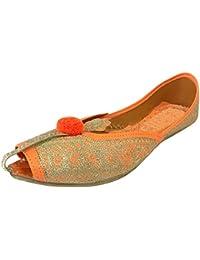 Step n Style mujeres cuentas Bomba Zapatos Zapatos de boda indio Pakistani Zapatos Plano jutis, color Dorado, talla 36.5