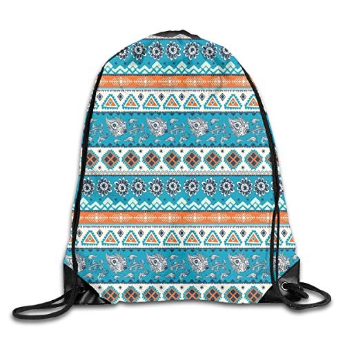Drawstring Backpacks Bags Daypacks,Aztec Ethnic Print with Persian Tulips Floral Spring Season Bohemian Art,5 Liter Capacity Adjustable for Sport Gym Traveling Floral Tulip-rock