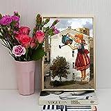 ZZZXX Poster Bildern Kunstdruck Mädchen Blumen Gießen