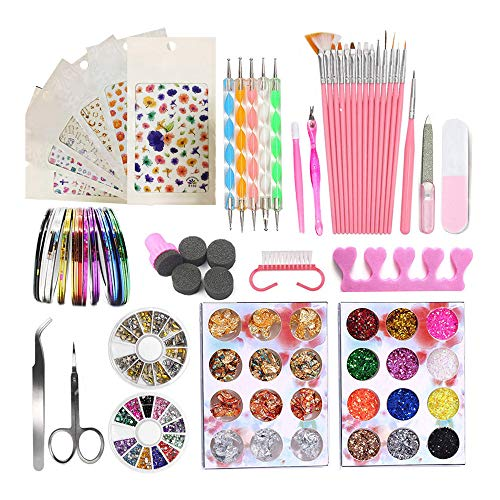 Kalolary 75 Pcs Kit de herramientas para manicura de uñas, pinceles para pintar uñas, uñas de estrás...