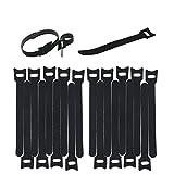 Lustre Lot de 20x Noir Sangle réglable réutilisable Attaches de câble Tidy Wrap Crochet et passant 10mm x 150mm