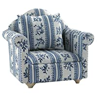 1/12th Scale Blue Dolls House Armchair Furniture Streets Ahead
