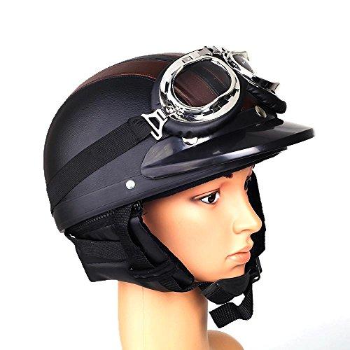 Foxpic-Casco-da-Motociclista-Casco-in-acciaio-casco-jet-Scooter-Casco-con-occhiali-di-protezione-cappello-a-tesa