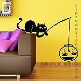 00759 Adesivi murali ''Gatto che pesca'' - Stickers adesivi - 80x58 cm - Nero - Decorazione parete, adesivi per muro, carta da parati