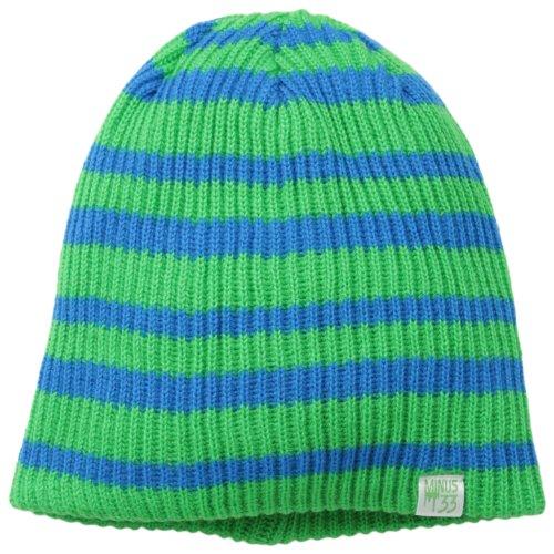 Minus33Merinowolle SB Reversible Beanie, Unisex Herren, 6523, Zephyr Green with Azure Blue Stripes, Einheitsgröße Reversible Stripe Beanie