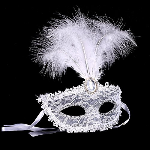 Venezianische Maskerade Prinzessin Maske Halbe Gesichtsmaske Maskenspiel Bühnen-Performance für Männlich und Weiblich Weiß (Klassische Halloween Kostüme Männlich)