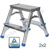 Zweiseitige Aluleiter KLAPPLEITER Leiter Ladder Haushaltsleiter 150kg | 2x2 Stufen