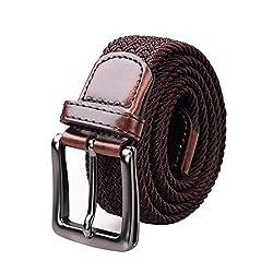 DGY Casual Woven Belt Braided Elastic Belt Stretch Belt Mens and Womens Dress Coffee