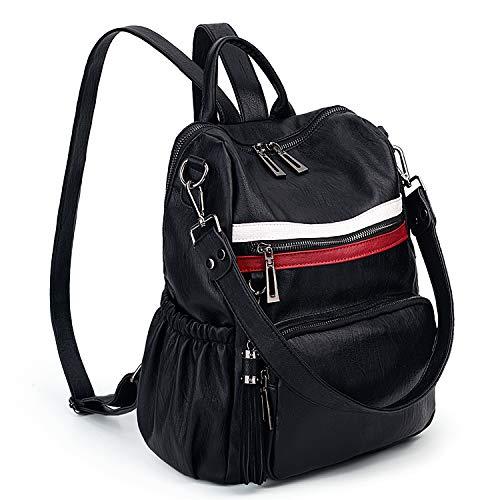 Rucksack Damen UTO PU gewaschen Leder Cabrio Damen Rucksack Quaste Reißverschluss Tasche Umhängetasche schwarz und Rot - Agent-laptop-tasche