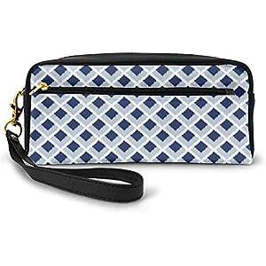 Patrón clásico Tradicional en Tonos Azules y Estilo Moderno Bolsa de Maquillaje étnica pequeña con Estuche de Cremallera 20cm * 5.5cm * 8.5cm