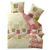 Bettwäsche 200x200 Baumwolle, Trend Amera Karo-Muster natur grün rosa Wendedesign aqua-textil 0011812