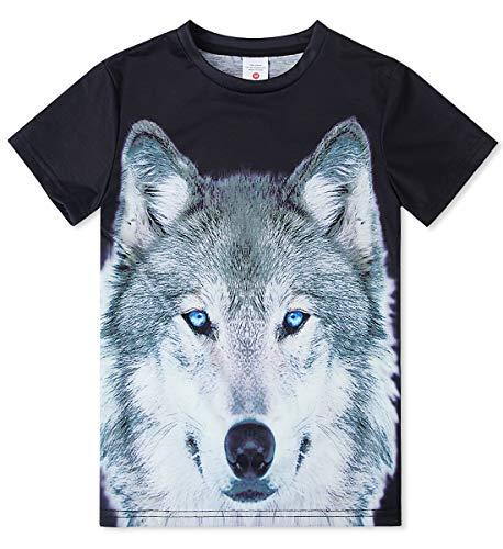 Idgreatim Little Boys 'Wolfs 6T-8T Crew Graphic Tee Kinder 3D Print Kurzarm T-Shirt