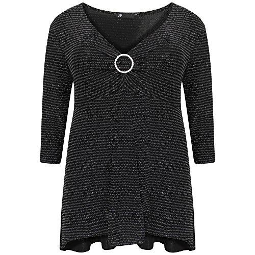 womens-ladies-plus-size-shiny-lurex-diamante-buckle-top-30-32-black