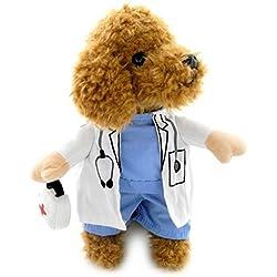 L-Peach Disfraz de Doctor Ropa Traje Uniforme para Mascotas Animal Doméstico Gato Perro con Dos Patas y Gorro para Halloween Navidad S