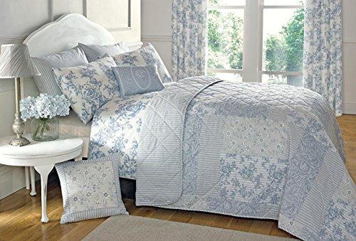 Floral Toile patchwork bleu 230x195cm Mélange de coton Réversible Couvre-lit matelassé