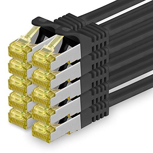 Cat.7 Netzwerkkabel 0,25m - Schwarz - 10 Stück - Cat7 Ethernetkabel Netzwerk LAN Kabel Rohkabel 10 Gb/s (Sftp Pimf) Set Patchkabel mit Rj 45 Stecker Cat.6a