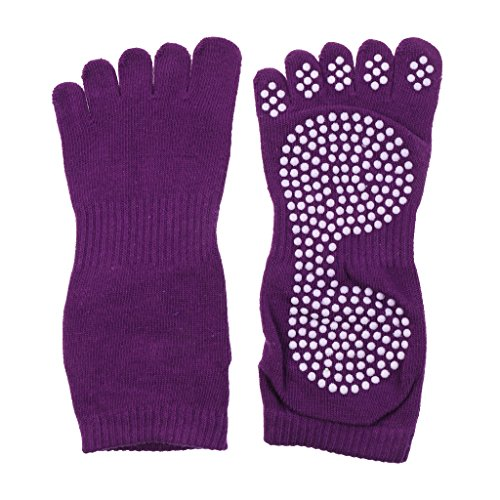 MagiDeal 1Paar Yoga Pilates Socken Anti-Rutsch Sport Übung & Fitness Zehensocken - Lila