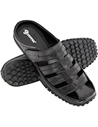 Copper Latest Casual Wear Black Leather Comfort Sandals and Floaters for Mens, Boys and Gent's