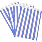 "50x Blue Candy Stripe Sweet/Gift Paper Bags - 5"" x 7"""