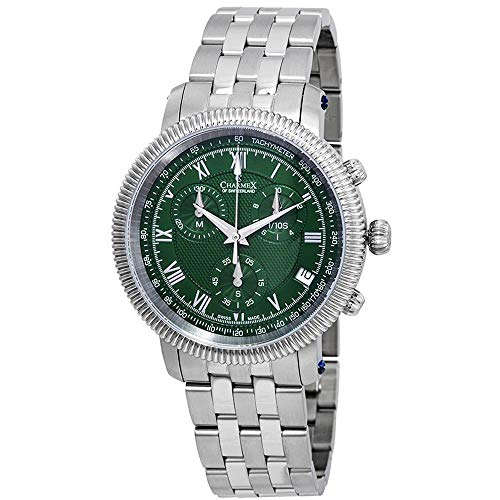Charmex Men's President II 42mm Steel Bracelet Quartz Green Dial Watch 2998