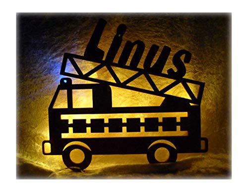 feuerwehrlampe Schlummerlicht24 3d Deko Motive Led Lampe Feuerwehr Blaulicht Name - Geschenk für Kinder Feuerwehrauto Feuerwehrzimmer Rot
