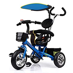 Lhh Kids Three-wheeled Trolley With Awning Foldable Bilateral Steering Titanium Empty Wheels For Kids 6 Months -6 years Old,Blue   10