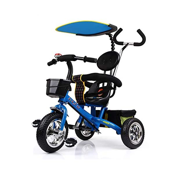 Lhh Kids Three-wheeled Trolley With Awning Foldable Bilateral Steering Titanium Empty Wheels For Kids 6 Months -6 years Old,Blue Lhh [Multi-function tricycle] Bearing capacity: 50KG,Age: 6 months-6 years old,Material: steel tube frame, environmentally friendly PC seat and ,accessories, rubber tire foam tire,Weight: 10.8kg, Specifications total length: 81cm,Width: 56cm,Height: 64cm,Suitable for outdoor horizontal roads or spacious and accessible indoors [Safety Certification] tricycle has a folding function that can be easily placed in the trunk of the car. The tricycle is equipped with an anti-UV 50, a roof adjustable on 3 levels, offer maximum comfort and convenience. Tricycle has a unique feature of two foot rest, one at the bottom of the child seat and others at the front wheel. [Silent Wheels] This stroller is equipped with a high quality titanium vacuum wheel, mute resistance and abrasion are its greatest features, suitable for different road conditions, Such as sand, shock absorbing belt, the lawn, the gravel road, the brick road. 1