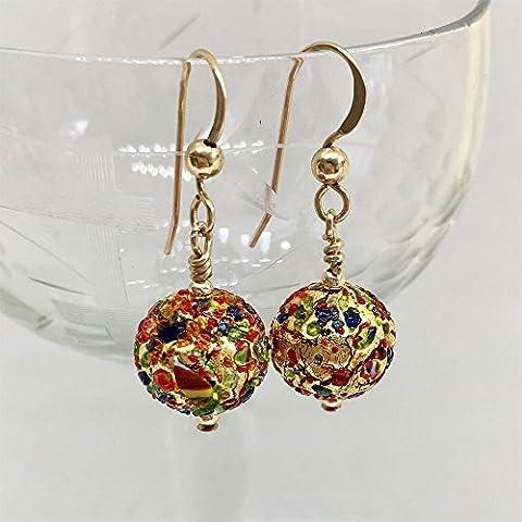 Diana Ingram speckled colours & gold Murano glass mini sphere