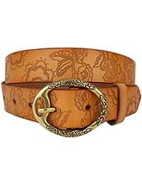 Ella Jonte ceinture femme marron en cuir avec boucle à ardillon 3,3 cm  largeur 15306a3d22b